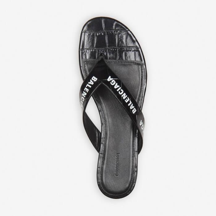 Dép xỏ ngón Balenciaga cho nữ - Allover Logo Round Sandal