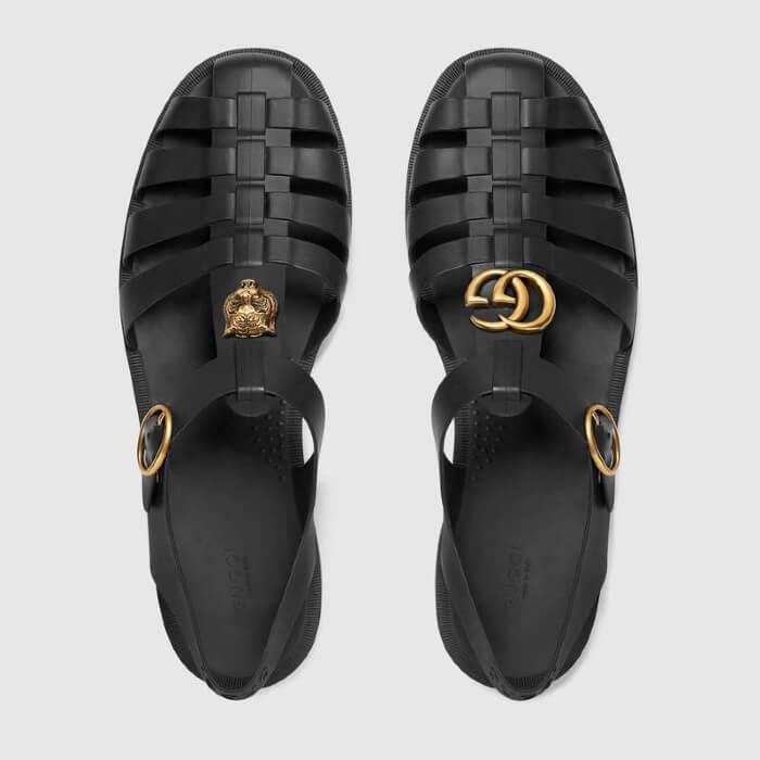 Dép râu Gucci cho nam - Rubber buckle strap sandal