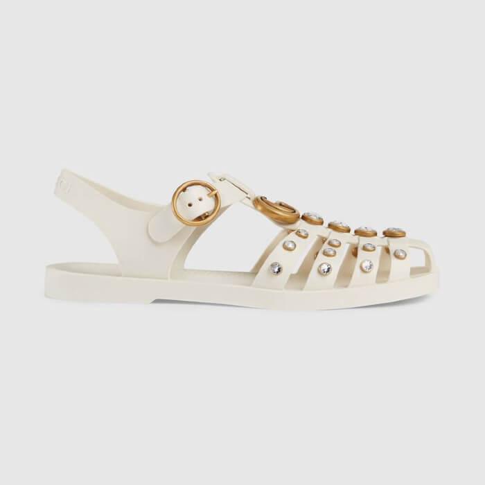 Dép rọ Gucci cho nữ - Rubber sandal with crystals - màu trắng