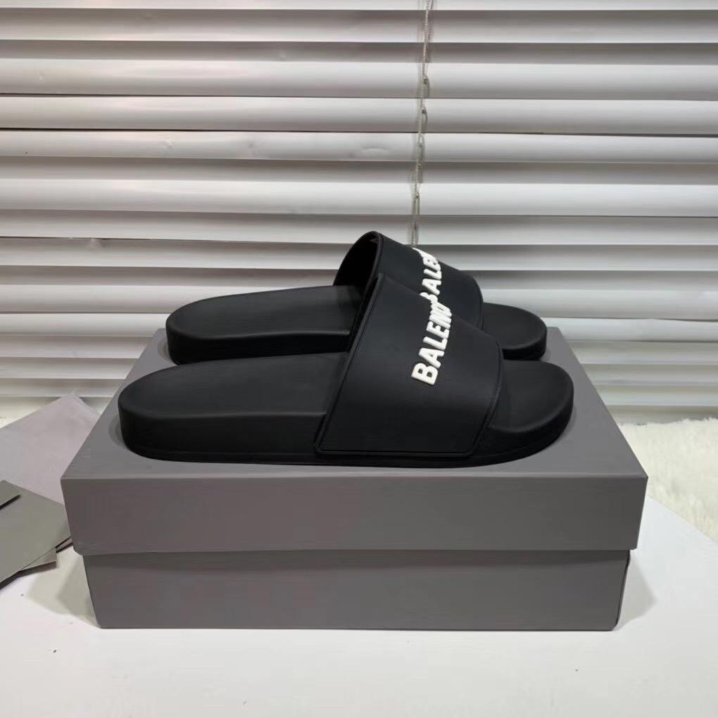 Dép Balenciaga nam siêu cấp màu đen chữ trắng DBL01