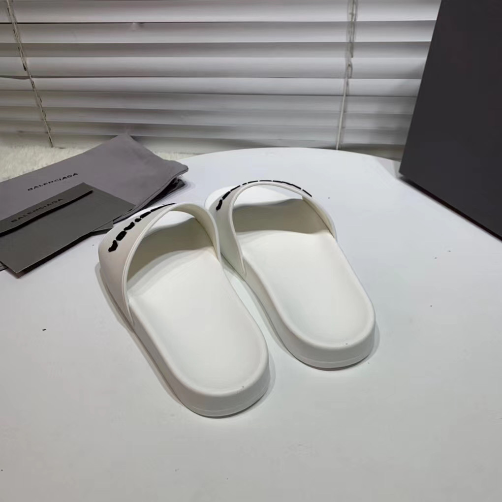 Dép Balenciaga nam siêu cấp màu trắng chữ đen DBL03