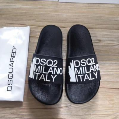 Dép Dsquared2 nam siêu cấp đen họa tiết milano trắng DDS01