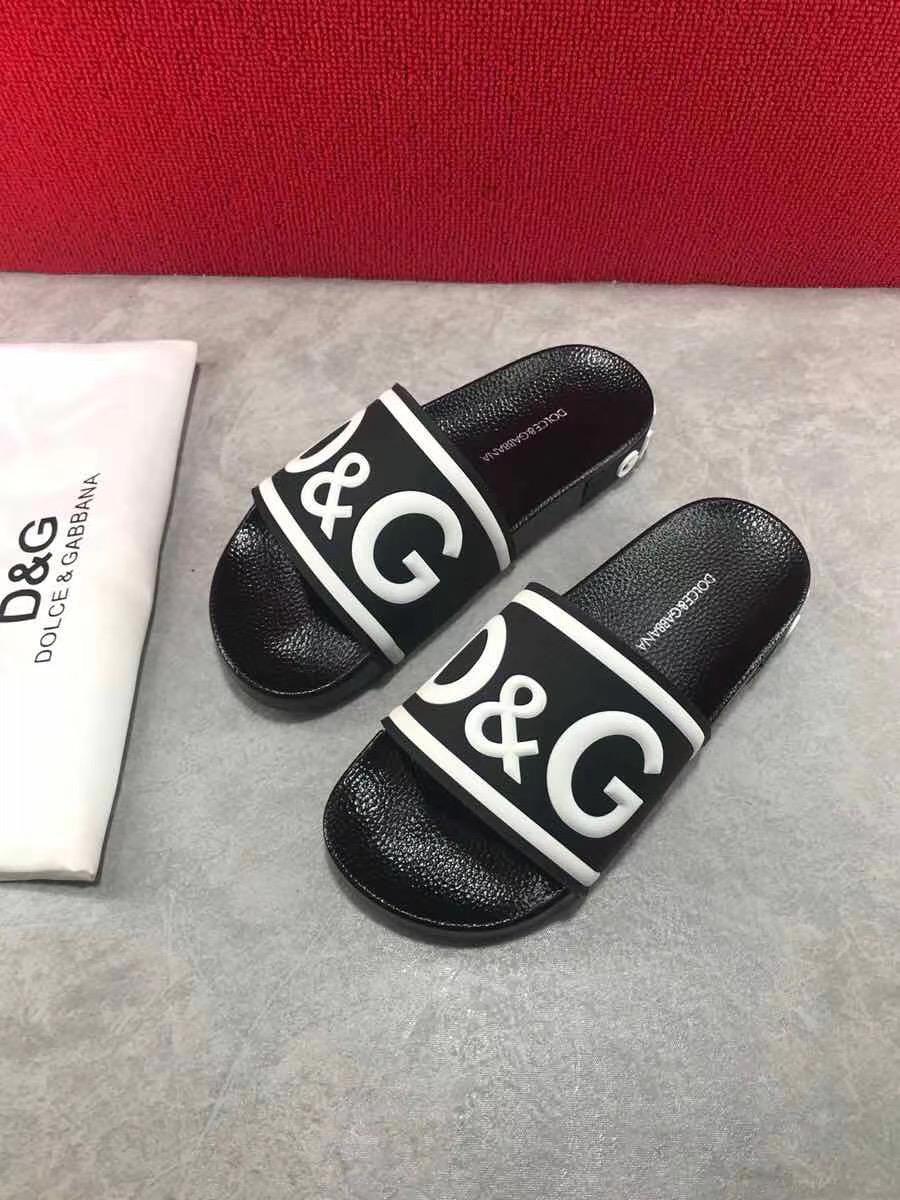 Dép Dolce nam siêu cấp màu đen hoạ tiết logo DDG05
