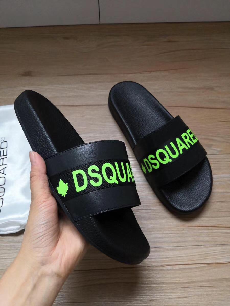 Dép Dsquared2 nam siêu cấp đen logo xanh DDS07