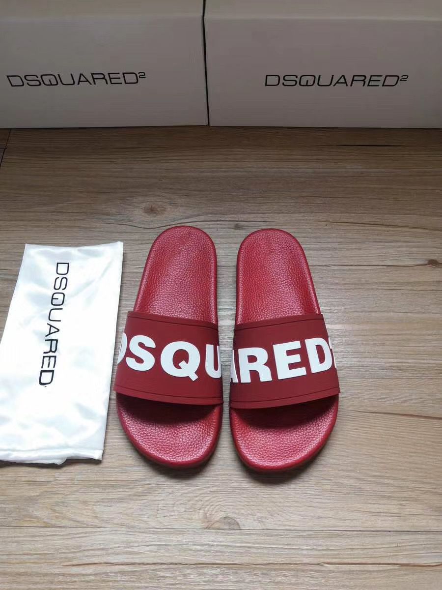 Dép Dsquared2 nam siêu cấp đỏ họa tiết DSQUARED trắng DDS19