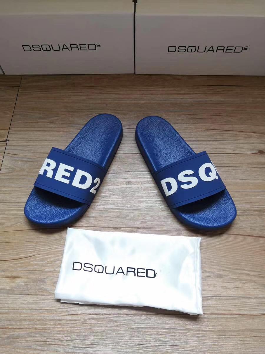 Dép Dsquared2 nam siêu cấp xanh họa tiết DSQUARED trắng DDS17