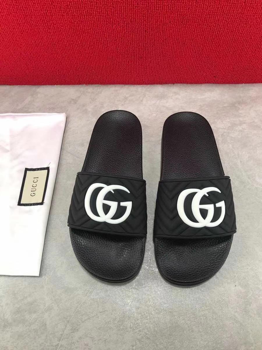 Dép Gucci nam like auth quai ngang đen logo trắng DGC02