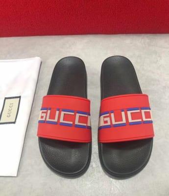 Dép Gucci nam siêu cấp quai ngang hoạ tiết Stripe đỏ DGC08