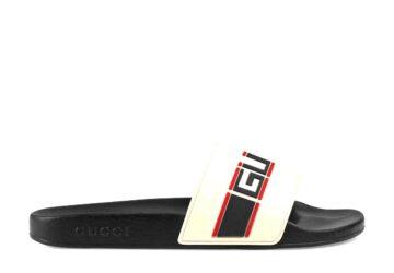 Dép Gucci nam siêu cấp quai ngang hoạ tiết Stripe trắng DGC09