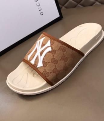 Dép Gucci nam siêu cấp quai ngang nâu logo NY trắng DGC15