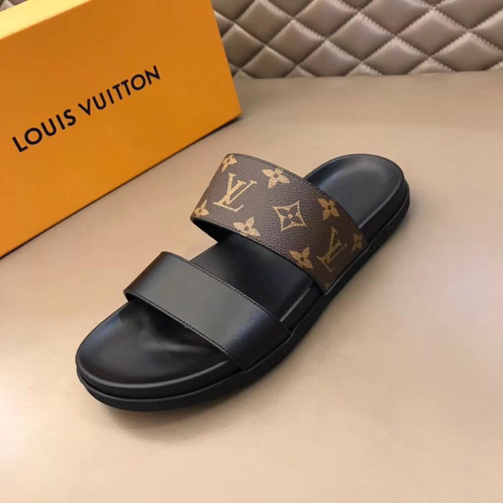 Dép Louis Vuitton nam like auth hai quai trơn hoa nâu DLV21