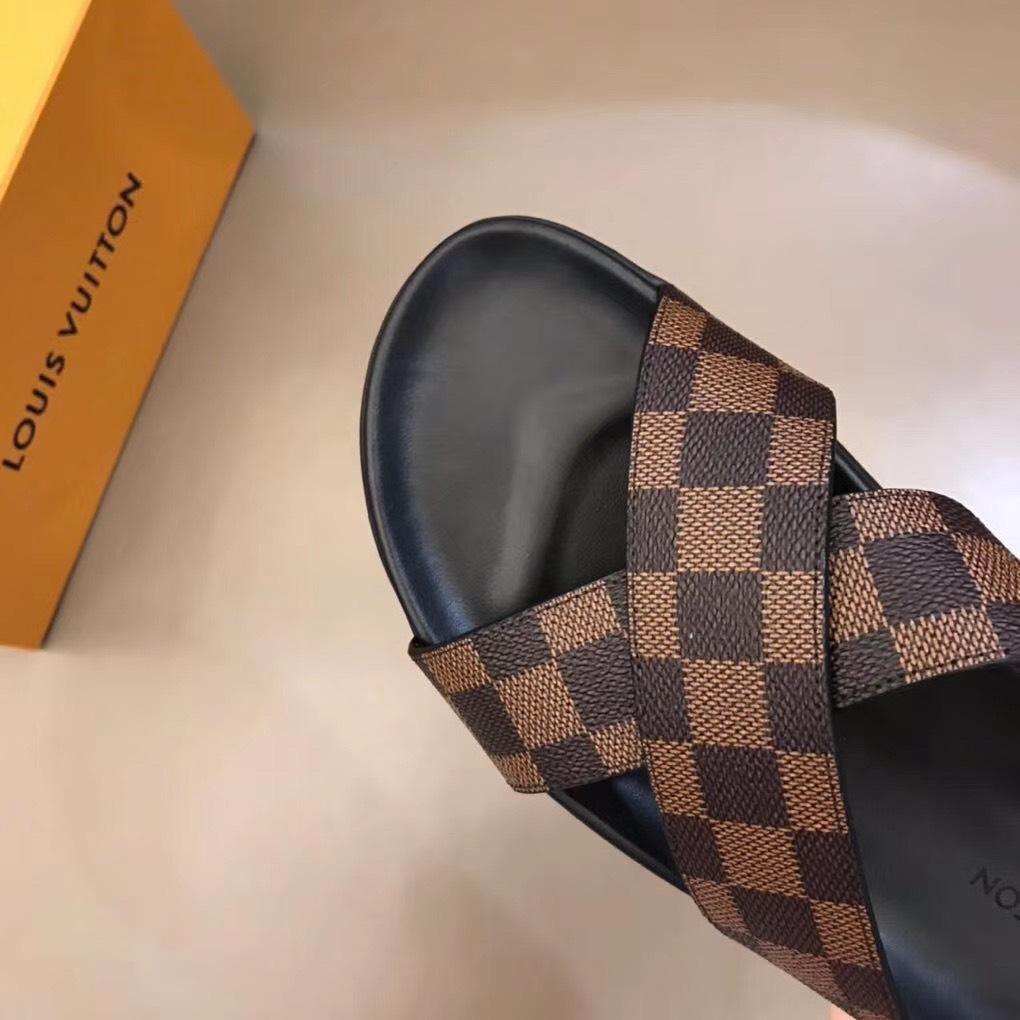 Dép Louis Vuitton nam siêu cấp quai chéo caro nâu DLV07