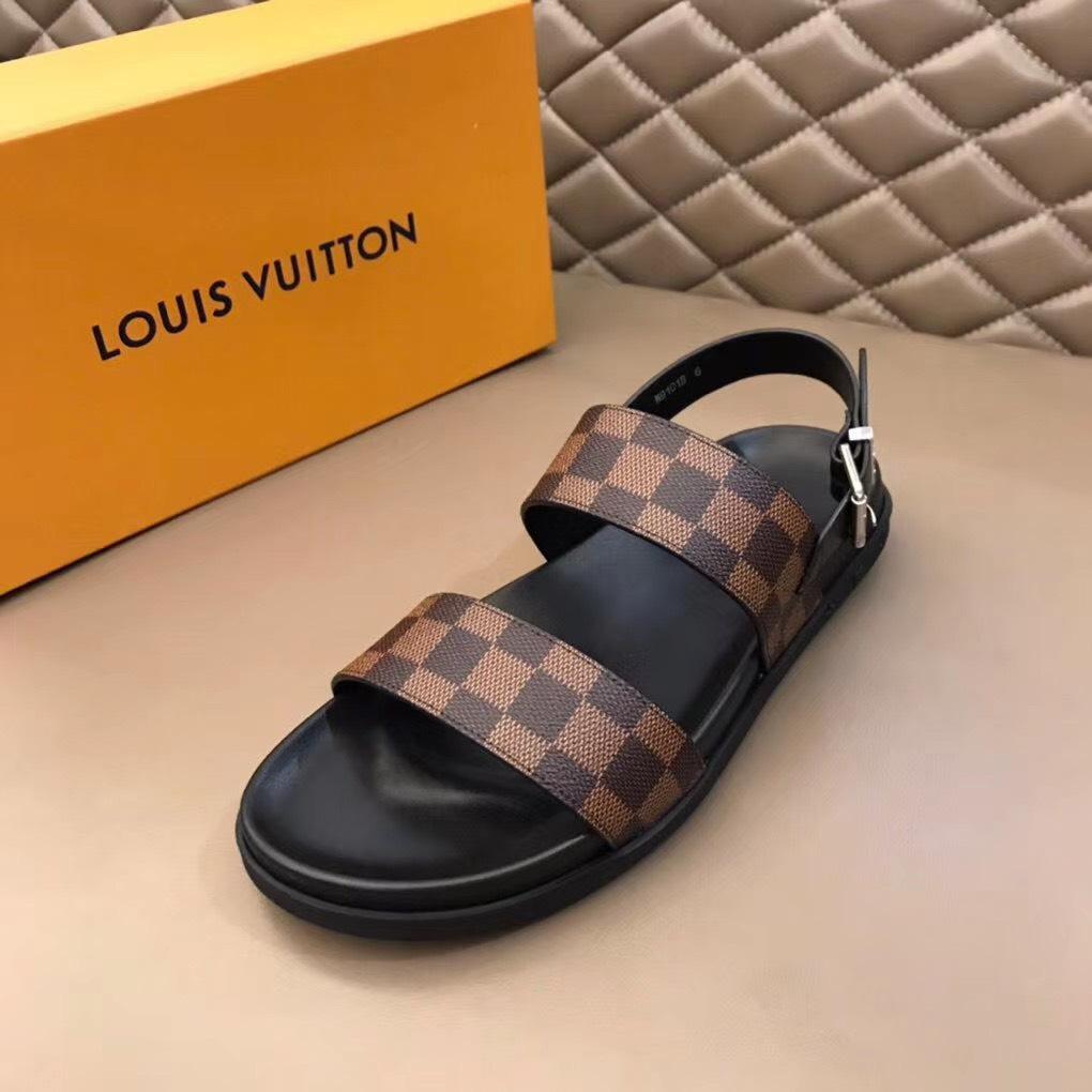 Dép Louis Vuitton nam siêu cấp sandal caro nâu DLV08