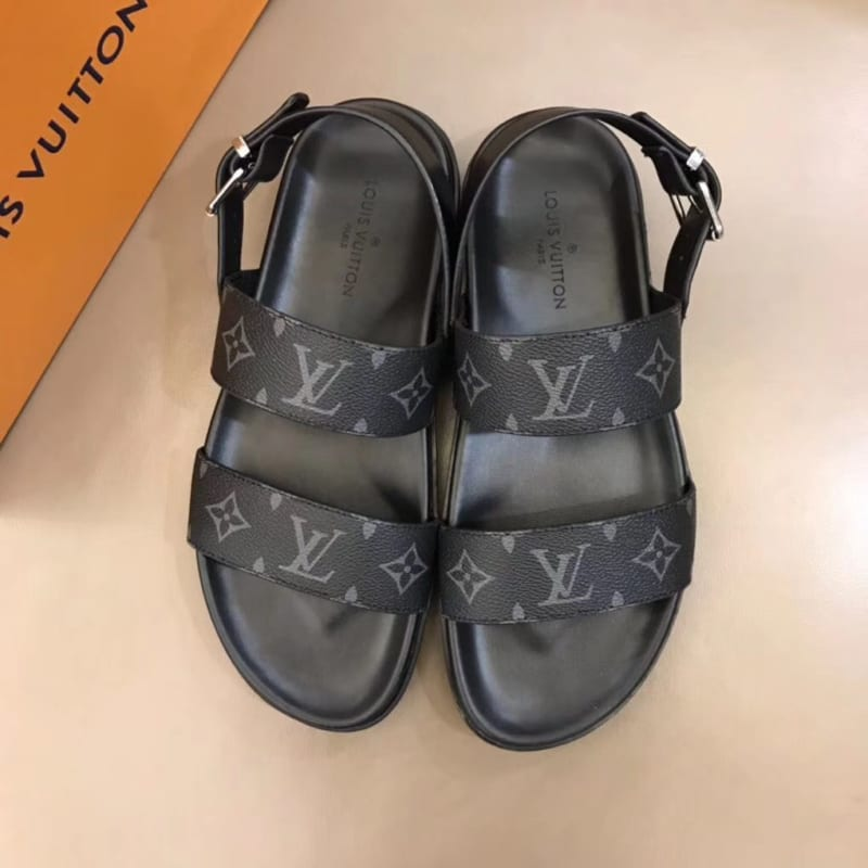 Dép Louis Vuitton nam like auth sandal hoa ghi đen DLV28