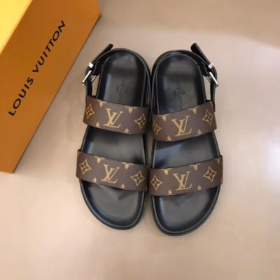Dép Louis Vuitton nam like auth sandal hoa nâu DLV23