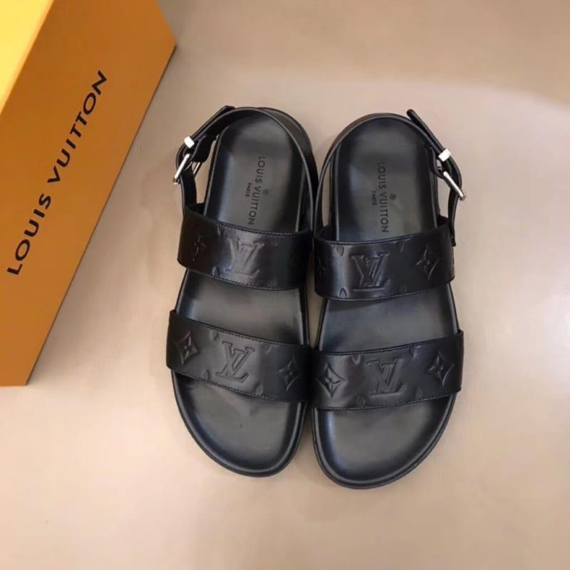 Dép Louis Vuitton nam siêu cấp sandal hoạ tiết chìm DLV13