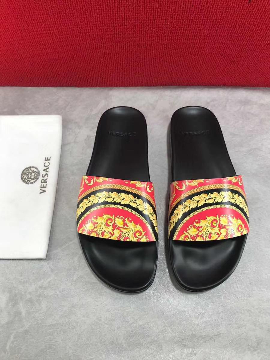 Dép Versace nam siêu cấp đế đen quai hoạ tiết đỏ vàng DVS04
