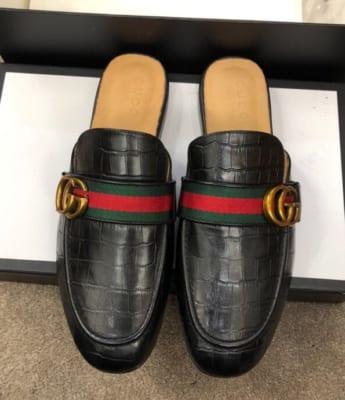Dép sục Gucci nam siêu cấp đen da sần hoạ tiết logo DGC17