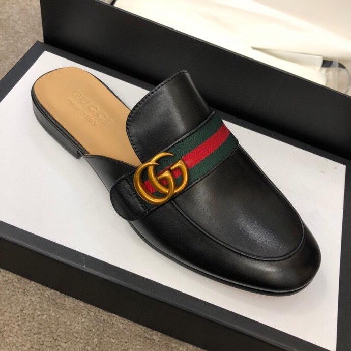Dép sục Gucci nam siêu cấp đen da trơn hoạ tiết logo DGC19