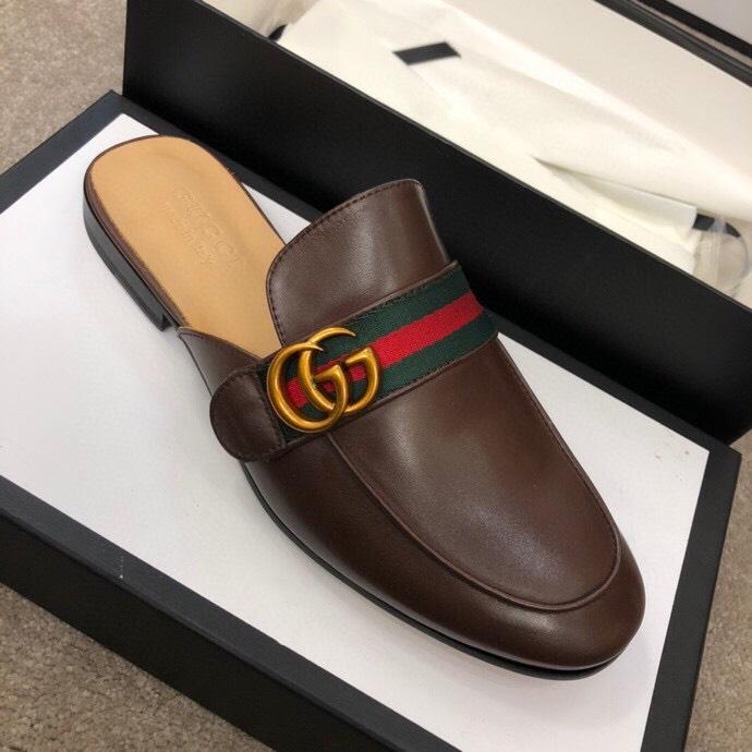 Dép sục Gucci nam siêu cấp nâu hoạ tiết logo DGC16