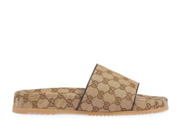 Dép nam Gucci like au quai ngang họa tiết logo màu sữa DGC32
