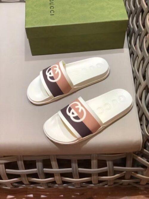 Dép nam Gucci like au quai ngang cam đất họa tiết logo đối DGC25
