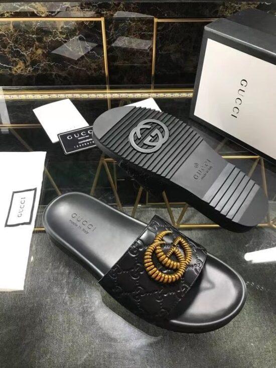 Dép nam Gucci siêu cấp quai ngang họa tiết chữ G kép nối DGC29
