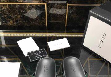 Dép nam Gucci siêu cấp xỏ ngón họa tiết quai viền đỏ DGC40