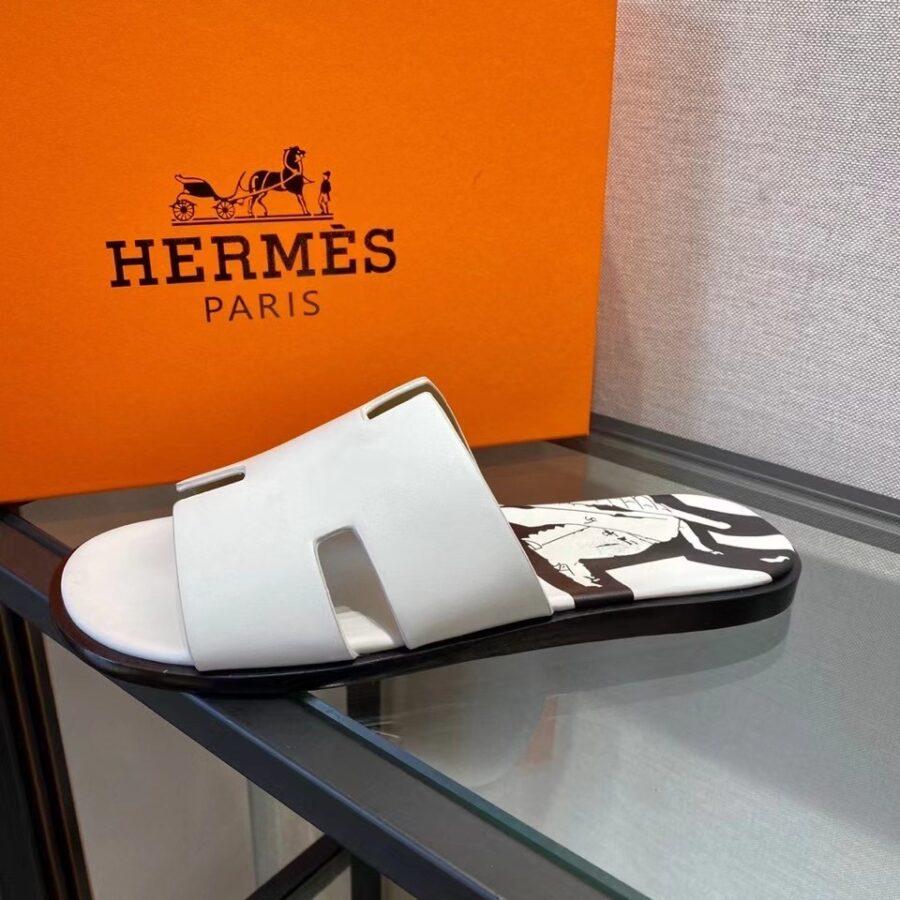 Dép Hermes nam like au da trơn màu trắng viền đen DHM47