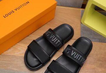 Dép Louis Vuitton nam siêu cấp hai quai họa tiết chữ màu đen DLV74