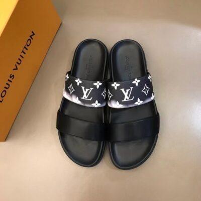 Dép Louis Vuitton nam siêu cấp hai quai màu đen hoa khói trắng DLV75