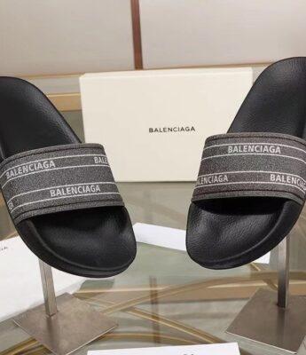 Dép nam Balenciaga siêu cấp họa tiết logo quai màu nhũ DBL20