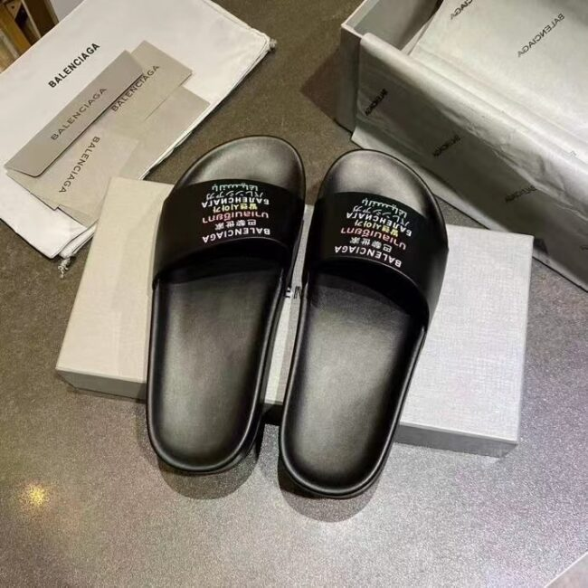 Dép nam Balenciaga siêu cấp màu đen họa tiết chữ nhiều màu DBL10