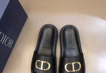 Dép nam Dior siêu cấp da trơn họa tiết logo chữ vàng DDR13