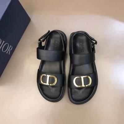 Dép nam Dior siêu cấp sandal da trơn họa tiết logo chữ vàng DDR40