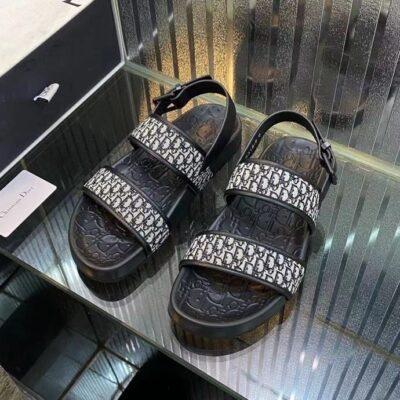 Dép nam Dior siêu cấp sandal họa tiết logo viền bo màu đen DDR39