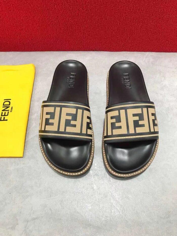 Dép nam Fendi siêu cấp họa tiết logo quai viền đen DFD19