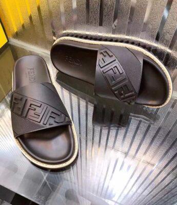 Dép nam Fendi siêu cấp họa tiết quai dập logo chéo DFD18