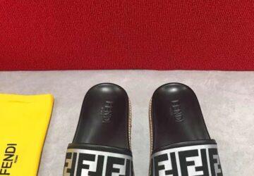Dép nam Fendi siêu cấp họa tiết quai đen trắng DFD17