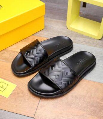 Dép nam Fendi siêu cấp quai dập logo full đen DFD16