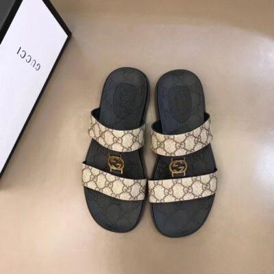 Dép nam Gucci siêu cấp hai quai họa tiết logo màu trắng sữa DGC64