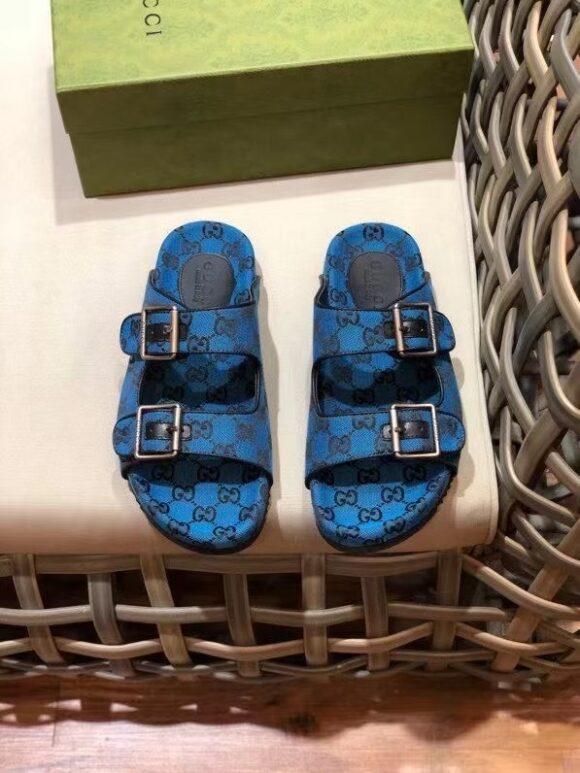 Dép nam Gucci like au hai quai họa tiết tag lệch màu xanh dương DGC67