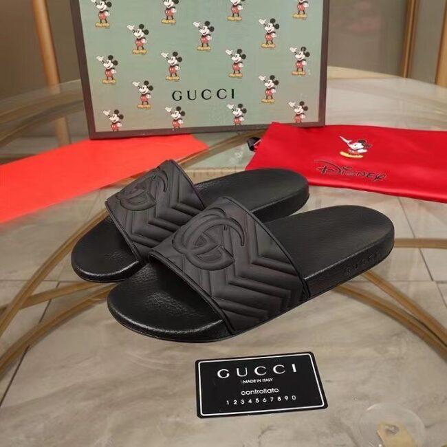 Dép nam Gucci like au quai ngang họa tiết logo đen DGC71