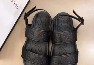 Dép nam Gucci siêu cấp sandal họa tiết đế dập chữ logo đen DGC58
