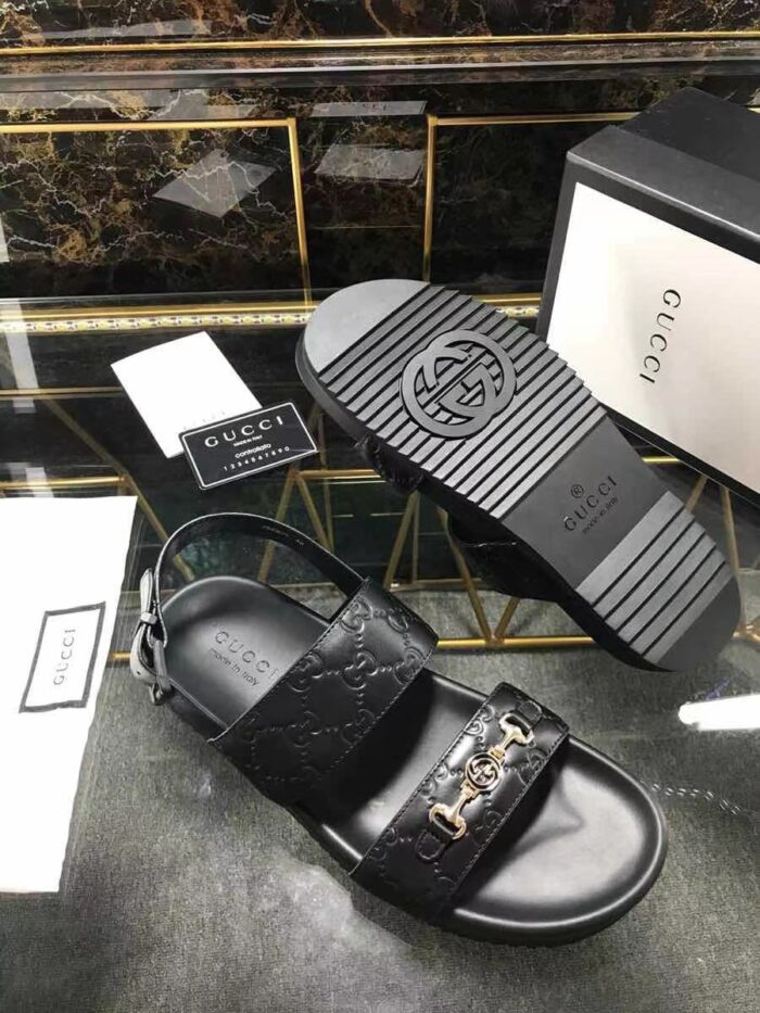 Dép nam Gucci siêu cấp sandal họa tiết logo chìm khóa nhỏ DGC57