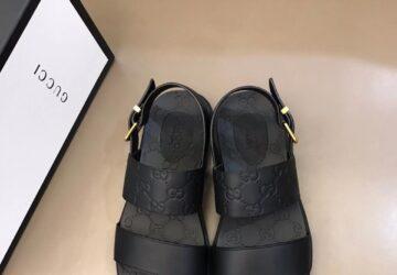 Dép nam Gucci siêu cấp sandal họa tiết logo dập chìm full đen DGC59