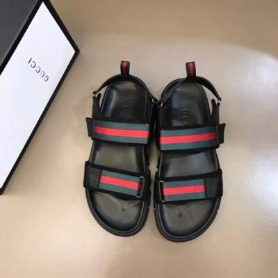 Dép nam Gucci siêu cấp sandal họa tiết viền đỏ DGC60