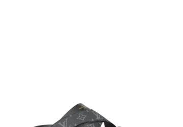 Dép nam Louis Vuitton siêu cấp quai chéo họa tiết hoa đen DLV66