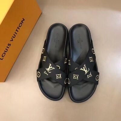 Dép nam Louis Vuitton siêu cấp quai chéo màu đen hoa vàng DLV71