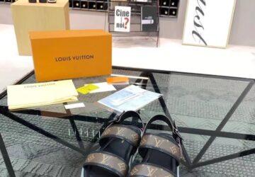 Dép nam Louis Vuitton siêu cấp quai hậu hoa nâu viền đen DLV34